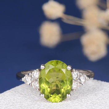 Peridot Engagement Ring White Gold Oval Cut Cluster Diamond Antique Birthstone Bridal Anniversary Gift Promise Birthday Gift Women Wedding