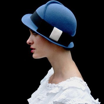 blue with black bownew hat by yellowfield7 on Etsy