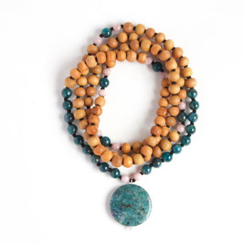 I Am Smart and Loving Mala -- 108 Handknotted Sandalwood with Lapis, Pink Beryl, and Apatite