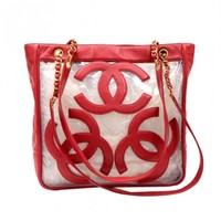 "Chanel 12"" Triple CC Red Leather x Clear Vinyl Medium Shoulder Tote Bag"