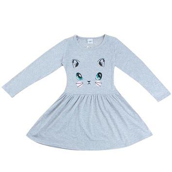 Autumn Clothes Children Girls Cat Pattern Gray Cotton Long Sleeve Dress Toddler Girls Casual Autumn Cute Printed Dress Clothing