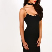 Starry Eyed Black Bodycon Midi Dress