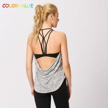 Colorvalue New Built-in Bra Sport Fitness Vest Women Sexy Backless Yoga Workout Tank Tops Loose Fit Padded Gym Running Vest S-XL