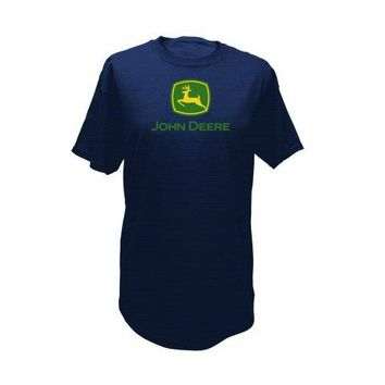 John Deere 13280000NV05 Men's T-Shirt w/John Deere Trademark, Navy, Medium