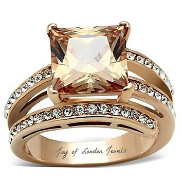 A Perfect 14K Rose Gold 4CT Princess Cut Champagne  Lab Diamond Ring