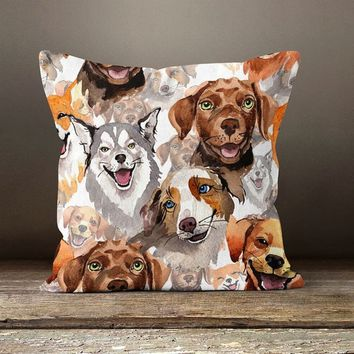 Dog Portrait Printed Pillow Cover, Velvet Pillow Case, Father's Day Gift Cushion, Dog Lover Gift, Pet Lovers, Gift For Daddy