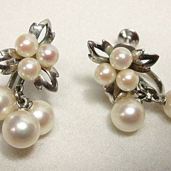 Vintage Sterling Silver Cultured Pearl Earrings with Drops