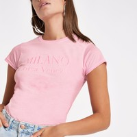 Pink 'Milano' print embroided T-shirt - Print T-Shirts / Vests - T-Shirts & Vests - Tops - women
