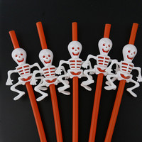 Cartoon Halloween Drinking straws skull / pumpkin /Halloween holiday Halloween Bar Party Decoration Halloween party decoration