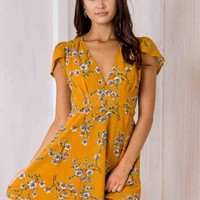 Milly Wrap Dress - Mustard Floral - Stelly