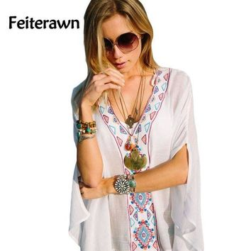 CREY3F Feiterawn 2017 Batwing Sleeves Loose Fit Tunic Beach Dress Embroidered Sexy V Neck Flowy White Beach Cover Up Kaftan DL42167