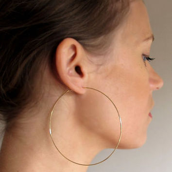 New Women Earrings 20-70 mm Large Hoop Statement Wedding Bridal Double Big Jewelry Minimalist Silvery Golden Bijoux