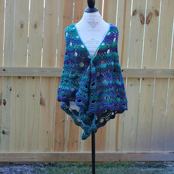 Crochet Shawl, Virus Women's Wrap, Multi Color Scarf,  Blues Greens Purples Scarf, Trianagle Scarf