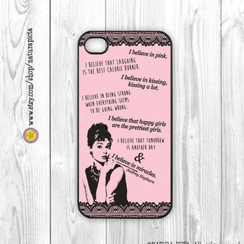 I believe in pink Audrey Hepburn quote iphone case 4/4S - iphone case 5/5S -Galaxy S4 -Design by Natura Picta-NP052