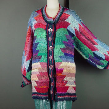 80s Chunky Sweater Wide Sleeve Cardigan Southwest Colors Jumper Vintage 1980s Oversized M