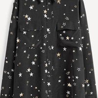 Starry Black Button Down Blouse