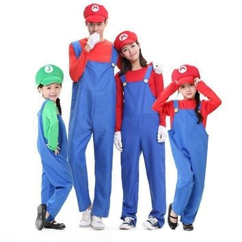 Halloween Costumes Funny Super Mario Luigi Costume for Family Kids Boys Children Mother Father Adult Women Men