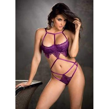 Stretch Lace & Strappy Elastic Teddy w/Underwired Cups Grape MD