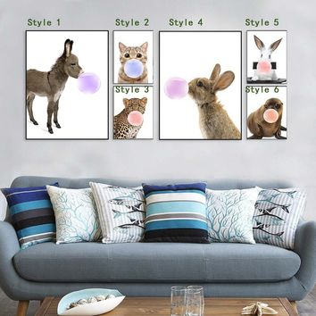 Nordic Kawaii Animal Bubbles Leopard Cat Rabbit Canvas A4 Art Print Poster Nursery Wall Picture Kids Room Decor Painting No Fram