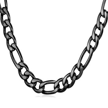 "9MM Men Necklace Black Stainless Steel Figaro Chain  [18"", 22"", 26"", 28"", 30""]"