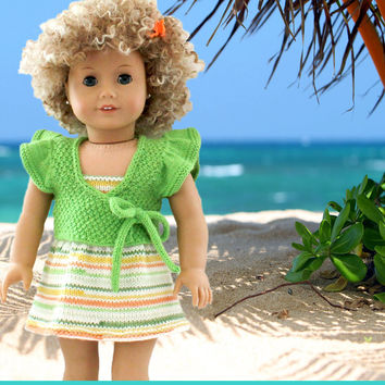 American Girl Doll Summer Dress Shrug Knitting Pattern PDF Instant Download - Tropical Sherbet