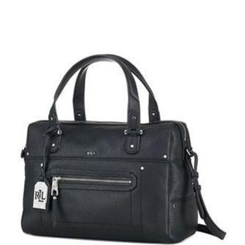 Lauren Ralph Lauren Huet Leather Zip Top Satchel