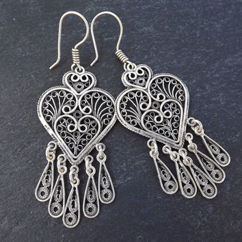 Heart Shaped Telkari Dangly Silver Ethnic Boho Earrings - Authentic Turkish Style