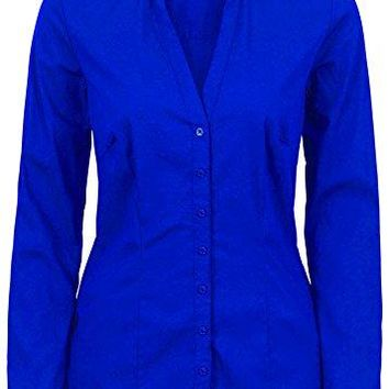 Nordicwinds Womens Deep V Long Sleeve Button Down Shirt Simple Collared Blouse
