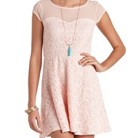 MESH YOKE CROCHETED LACE SKATER DRESS