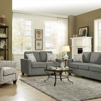 Coaster 506261-62 2 pc Bardmen collection cobblestone colored fabric upholstered sofa and love seat set with square arms