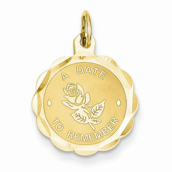 14 Yellow Gold A Date to Remember Charm Pendant