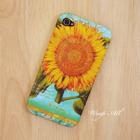 Vintage Sunflower iPhone 4 case / Sunflower iPhone 4s case/ Flower iPhone 4s case / iPhone cover