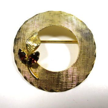 Vermeil Circle Brooch Signed ART Gold Vermeil over Sterling Silver Crosshatch Finish 2 Root Beer Marquis Cut Rhinestones Gold Leaf 1 5/16 in