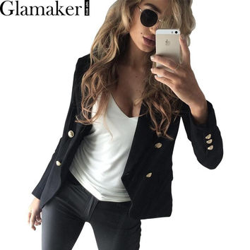 Glamaker Elegant double breasted autumn white blazer Women sexy coat slim suit blazer Black cool outwear 2016 OL short jacket