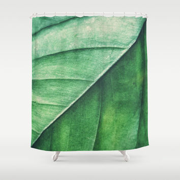Shower Curtain, Green Leaf Woodland Nature Bath Curtain, Bathroom Tub Curtain, Emerald Green, Loft Apartment Bungalow Style Home Decor 71x74