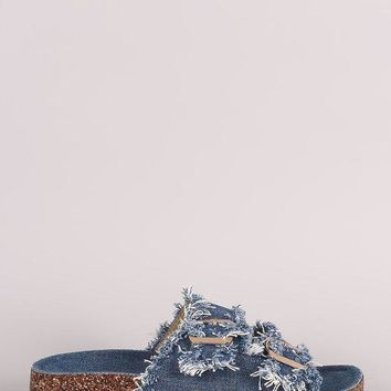 DCK7YE Frayed Denim Open Toe Buckled Cork Footbed Slide Sandal