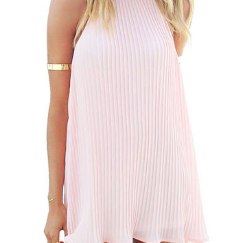 Pink Pleated Swing Dress with Halter Neck