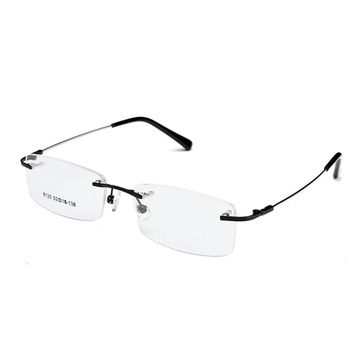 Men Rimless Glasses Memory Optical Eyeglasses Titanium Spectacles Frame