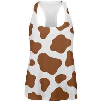 CREYCY8 Halloween Costume Brown Spot Cow All Over Womens Work Out Tank Top