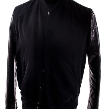Black wool and leather varsity jacket size:M