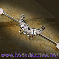 Butterfly with Opal Ends Industrial Barbell 14ga Surgical Steel Scaffold Bar Body Jewelry