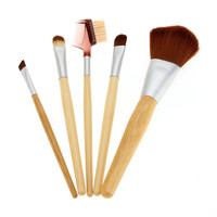 Bamboo Makup Cosmetic Eyeliner Blush Eyeshadow Brush Se