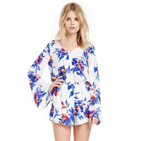 Blue Chiffon Floral V-neck Long Sleeve Romper