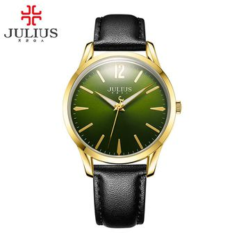 JULIUS Men's Watch Waterproof PU Leather Strap Wristwatch Round Shape Quartz Watch 2017 Summer New JA-983
