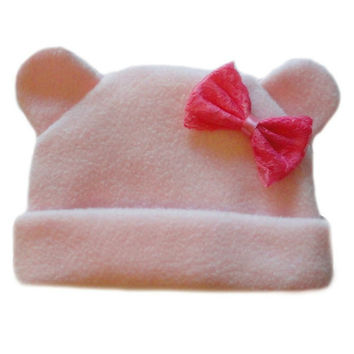 Baby Girls' Pink Fleece Hat with Ears and Bow