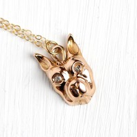 French Bulldog Necklace - Antique Edwardian 10k Rosy Yellow Gold Stick Pin Conversion Necklace - Vintage Figural Diamond Fine Jewelry