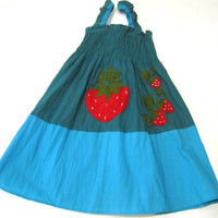 1 to 3 years old cotton dress-Girls cotton dress or skirt-Small size-Handmade-Embroidered strawberries-Girls clothing-Kids clothing