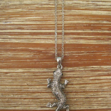 Dark Silver Lizard Necklace - Silver Rhinestone Lizard Necklace - Silver Dark Lizard Necklace