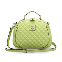 Leather Quilted Cross Body Bag wth Short Grab Handle Tote Bag-Green from KissBags
