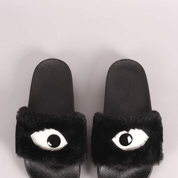Qupid Eye Applique Faux Fur Sandal